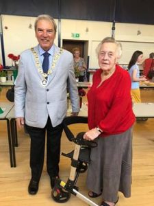 Ellesmere town Mayor Paul Goulbourne with organiser Verna Roberts at the annual Flower and Produce Show today organised by Ellesmere & District Gardeners' Club at the Town Hall.
