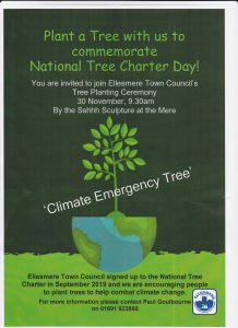 Plant a Tree with Us to commemorate National Tree Charter Day. You are invited to join Ellesmere Town Council's tree planting ceremony on 30 November 2019 9.20 a.m. by the Sshhh sculpture at the mere.